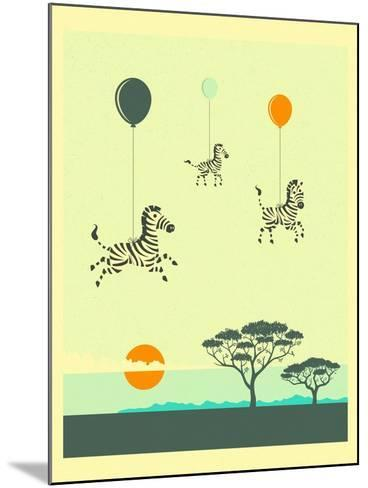Flock of Zebras-Jazzberry Blue-Mounted Art Print