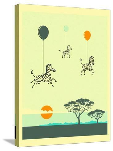 Flock of Zebras-Jazzberry Blue-Stretched Canvas Print