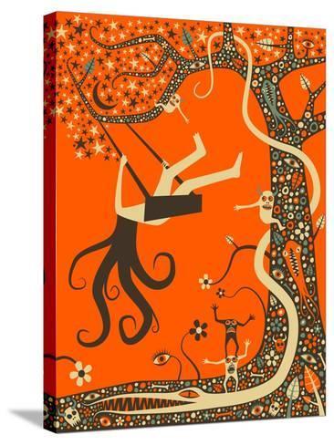 Outcast-Jazzberry Blue-Stretched Canvas Print
