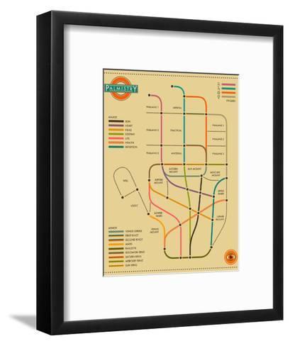 Palmistry Map-Jazzberry Blue-Framed Art Print