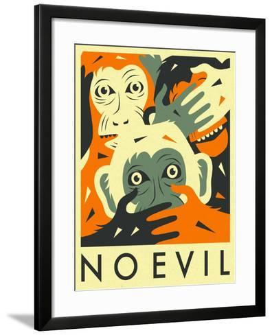 No Evil-Jazzberry Blue-Framed Art Print