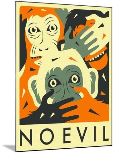 No Evil-Jazzberry Blue-Mounted Art Print