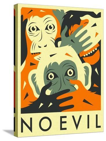 No Evil-Jazzberry Blue-Stretched Canvas Print