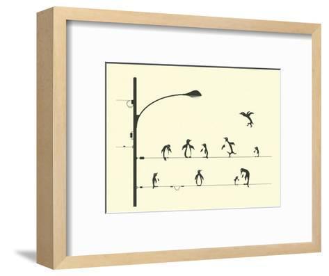 Penguins on aWire-Jazzberry Blue-Framed Art Print
