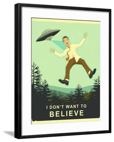 I Don't Want to Believe-Jazzberry Blue-Framed Art Print