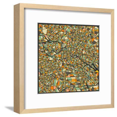 Berlin Map-Jazzberry Blue-Framed Art Print