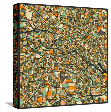 Berlin Map-Jazzberry Blue-Stretched Canvas Print