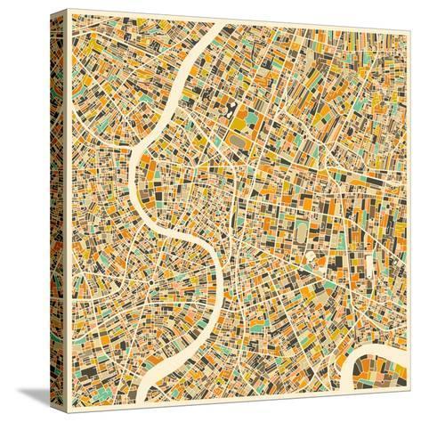 Bangkok Map-Jazzberry Blue-Stretched Canvas Print