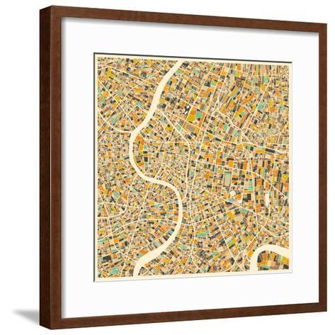 Bangkok Map-Jazzberry Blue-Framed Art Print