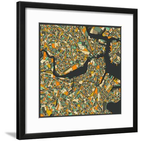 Boston Map-Jazzberry Blue-Framed Art Print