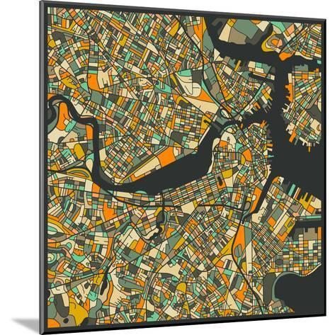 Boston Map-Jazzberry Blue-Mounted Art Print