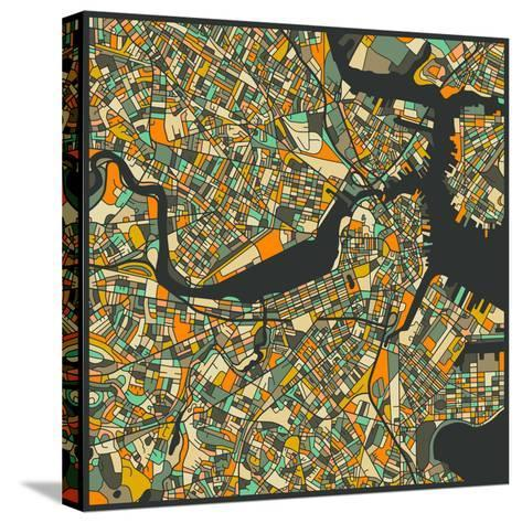 Boston Map-Jazzberry Blue-Stretched Canvas Print