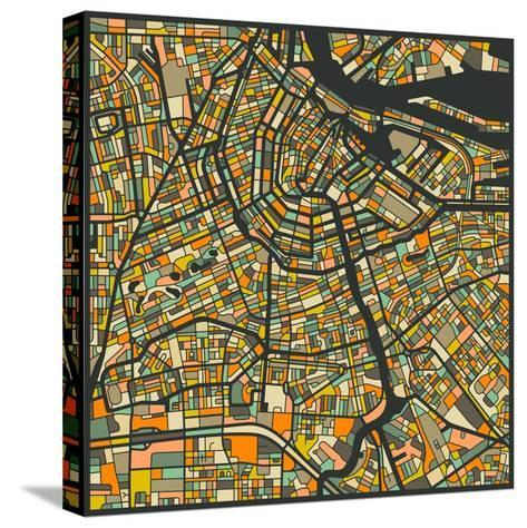 Amsterdam Map-Jazzberry Blue-Stretched Canvas Print