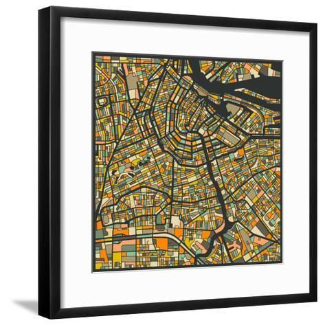 Amsterdam Map-Jazzberry Blue-Framed Art Print