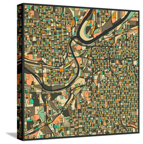 Kansas City Map-Jazzberry Blue-Stretched Canvas Print