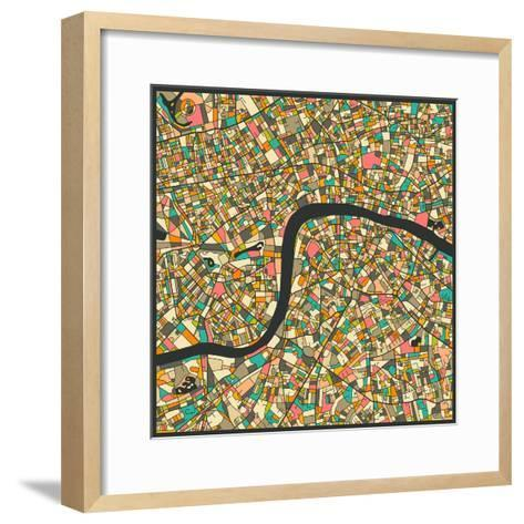 London Map-Jazzberry Blue-Framed Art Print