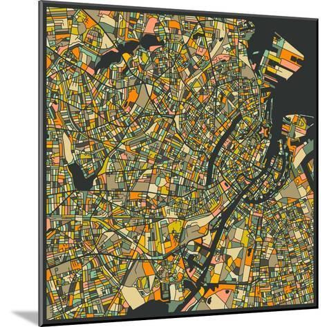 Copenhagen Map-Jazzberry Blue-Mounted Art Print