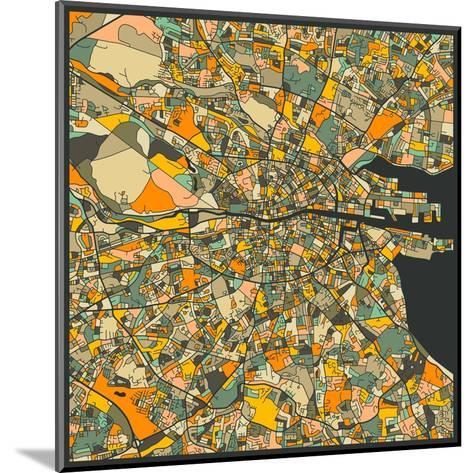 Dublin Map-Jazzberry Blue-Mounted Art Print