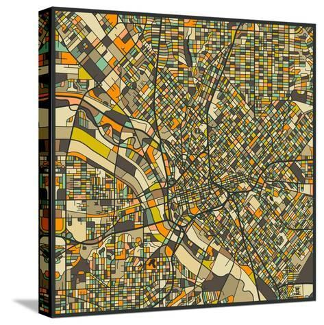 Dallas Map-Jazzberry Blue-Stretched Canvas Print