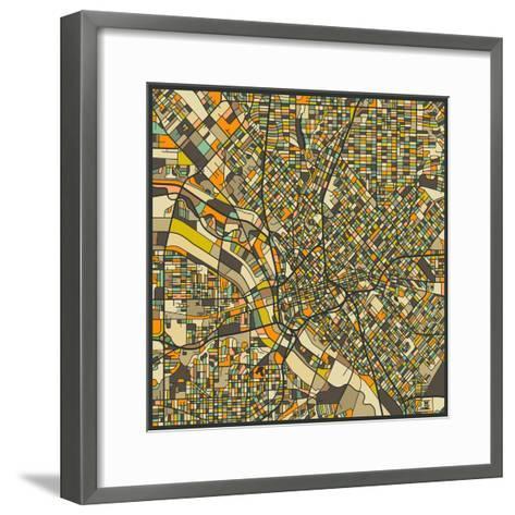 Dallas Map-Jazzberry Blue-Framed Art Print