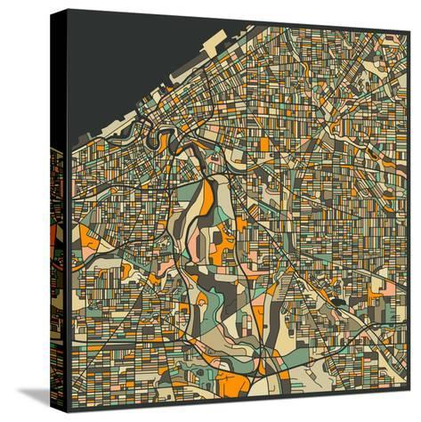 Cleveland Map-Jazzberry Blue-Stretched Canvas Print