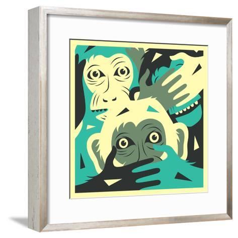 No Evil-Jazzberry Blue-Framed Art Print