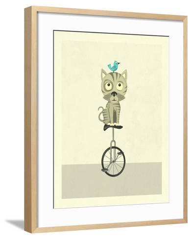 Balancing Cat-Jazzberry Blue-Framed Art Print