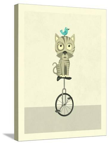 Balancing Cat-Jazzberry Blue-Stretched Canvas Print