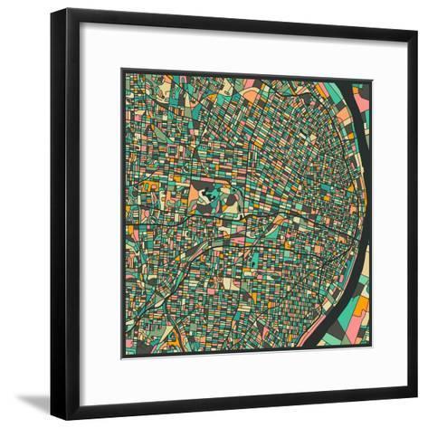 St. Louis Map-Jazzberry Blue-Framed Art Print