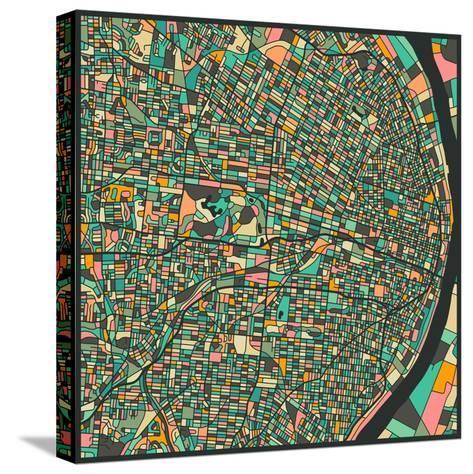 St. Louis Map-Jazzberry Blue-Stretched Canvas Print