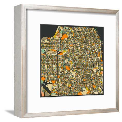 San Francisco Map-Jazzberry Blue-Framed Art Print