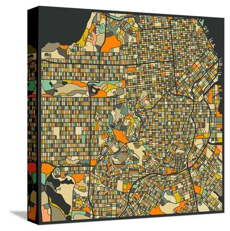 San Francisco Map-Jazzberry Blue-Stretched Canvas Print