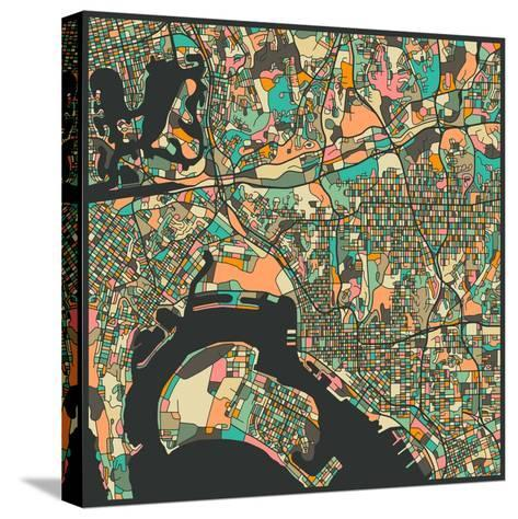 San Diego Map-Jazzberry Blue-Stretched Canvas Print