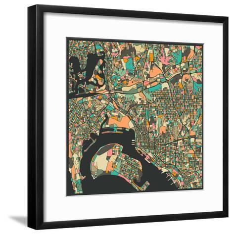 San Diego Map-Jazzberry Blue-Framed Art Print