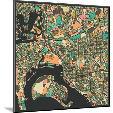 San Diego Map-Jazzberry Blue-Mounted Art Print