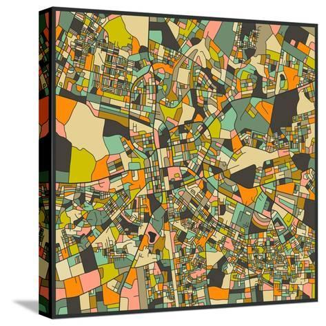 Lusaka Map-Jazzberry Blue-Stretched Canvas Print