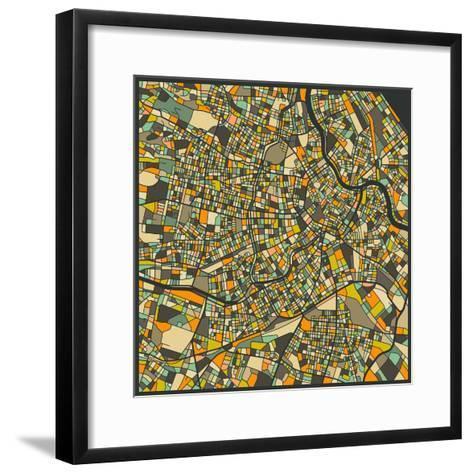 Vienna Map-Jazzberry Blue-Framed Art Print