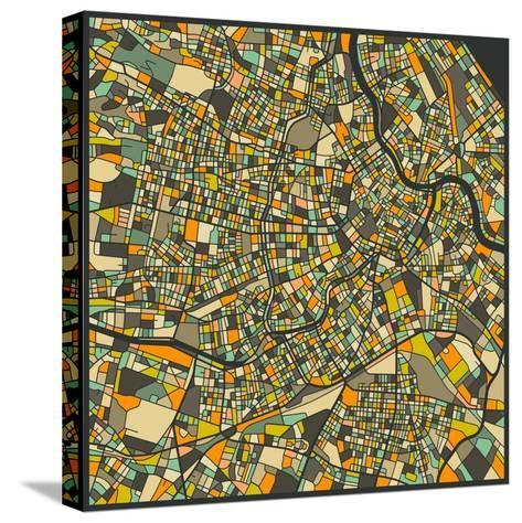 Vienna Map-Jazzberry Blue-Stretched Canvas Print