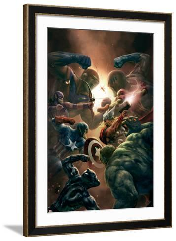 New Avengers No.43 Cover: Captain America, Thor and Black Panther--Framed Art Print