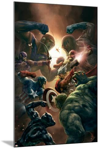 New Avengers No.43 Cover: Captain America, Thor and Black Panther--Mounted Art Print