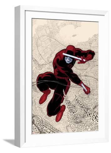 Daredevil No.1 Cover: Daredevl Jumping amidst Sounds-Paolo Rivera-Framed Art Print