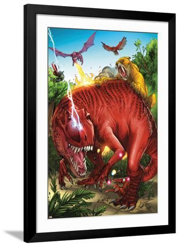 Lockjaw and the Pet Avengers No.2 Group: Devil Dinosaur, Zabu, Red Wing and Lockheed-Ig Guara-Framed Art Print