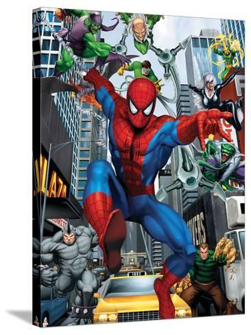 Spider-Man, Doctor Octopus, Green Goblin, Vulture, Black Cat, Electro, Lizard, Rhino and Sandman--Stretched Canvas Print