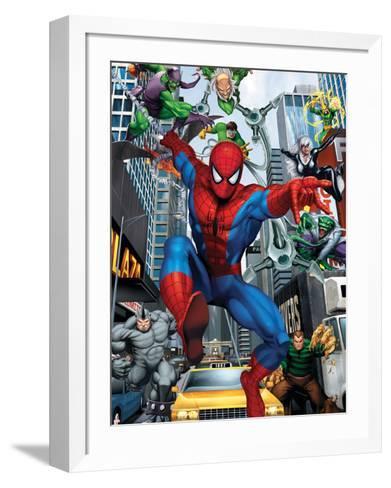 Spider-Man, Doctor Octopus, Green Goblin, Vulture, Black Cat, Electro, Lizard, Rhino and Sandman--Framed Art Print