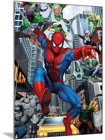 Spider-Man, Doctor Octopus, Green Goblin, Vulture, Black Cat, Electro, Lizard, Rhino and Sandman--Mounted Art Print