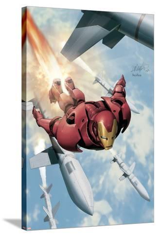 Invincible Iron Man No.3 Cover: Iron Man-Salvador Larroca-Stretched Canvas Print