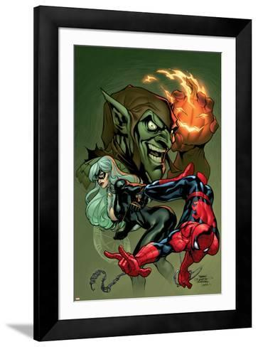 Marvel Knights Spider-Man V3, No.10 Cover: Black Cat, Spider-Man and Green Goblin Crouching-Terry Dodson-Framed Art Print