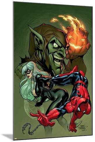 Marvel Knights Spider-Man V3, No.10 Cover: Black Cat, Spider-Man and Green Goblin Crouching-Terry Dodson-Mounted Art Print