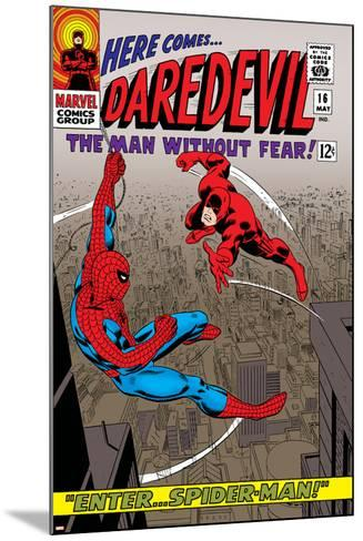 Daredevil No.16 Cover: Spider-Man and Daredevil Charging--Mounted Art Print