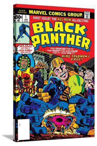 Black Panther No.1 Cover: Black Panther, Little, Abner and Princess Zanda Fighting-Jack Kirby-Stretched Canvas Print